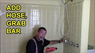 Install bath grab bar and hand held shower in 1 hour for safe bathroom