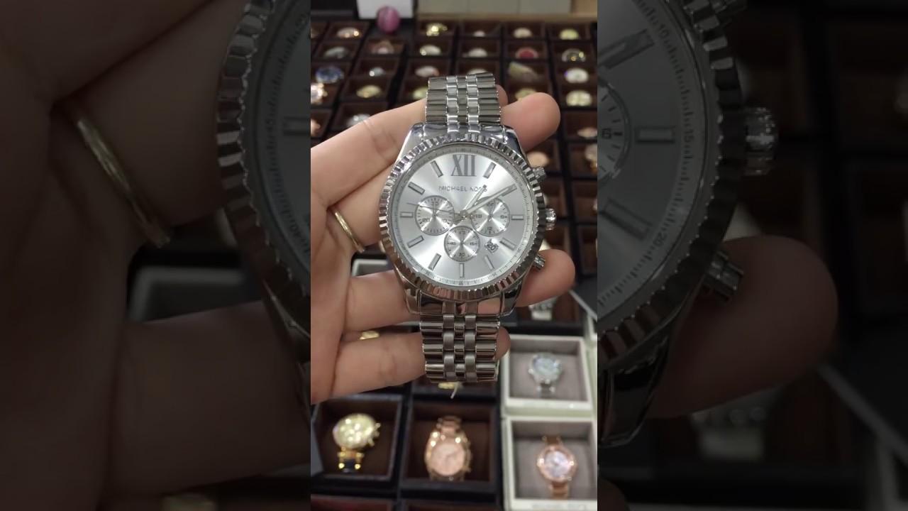 4d0e4eddae8d Michael Kors Lexington Chronograph Silver Tone Mens Watch MK8405 ...