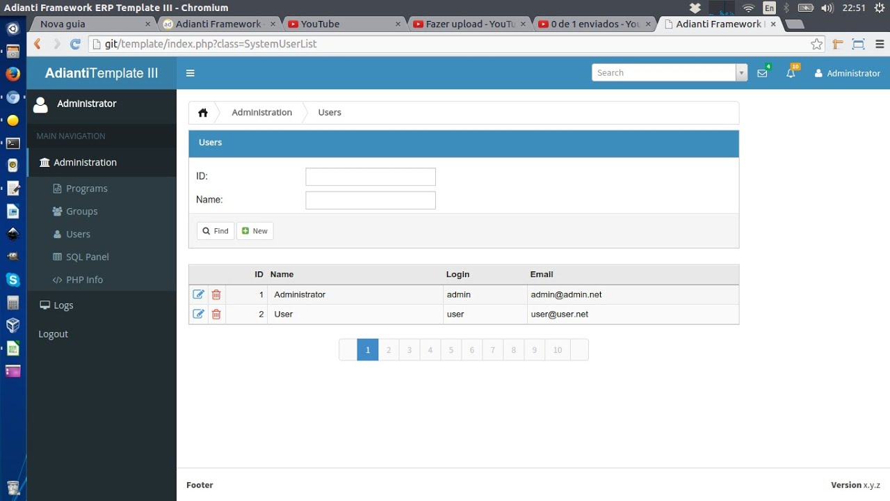 Adianti Template ERP YouTube - Erp requirements template
