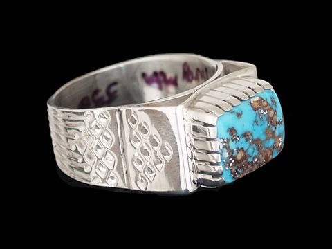 Navajo Turquoise Mountain Turquoise Sterling Silver Ring - Allison Lee (#182)
