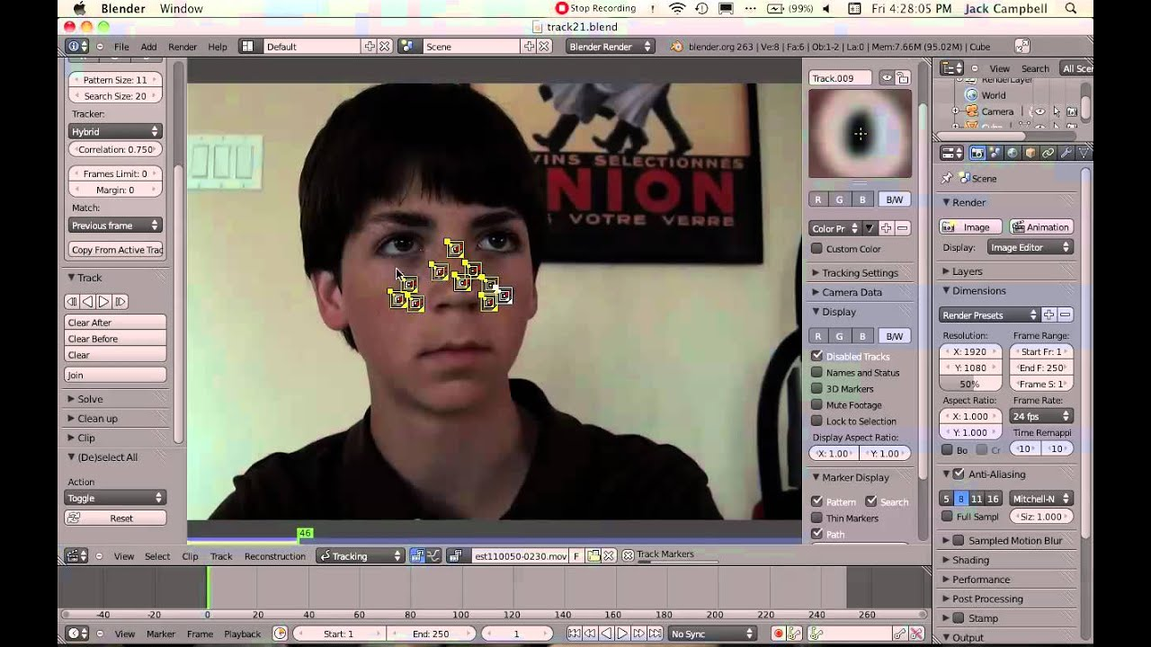Facial tracking software