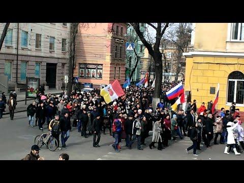 В Одессе маршировали с флагами СССР и России, потом пришли к ОГА жечь флаг УПА - 23 февраля 2014