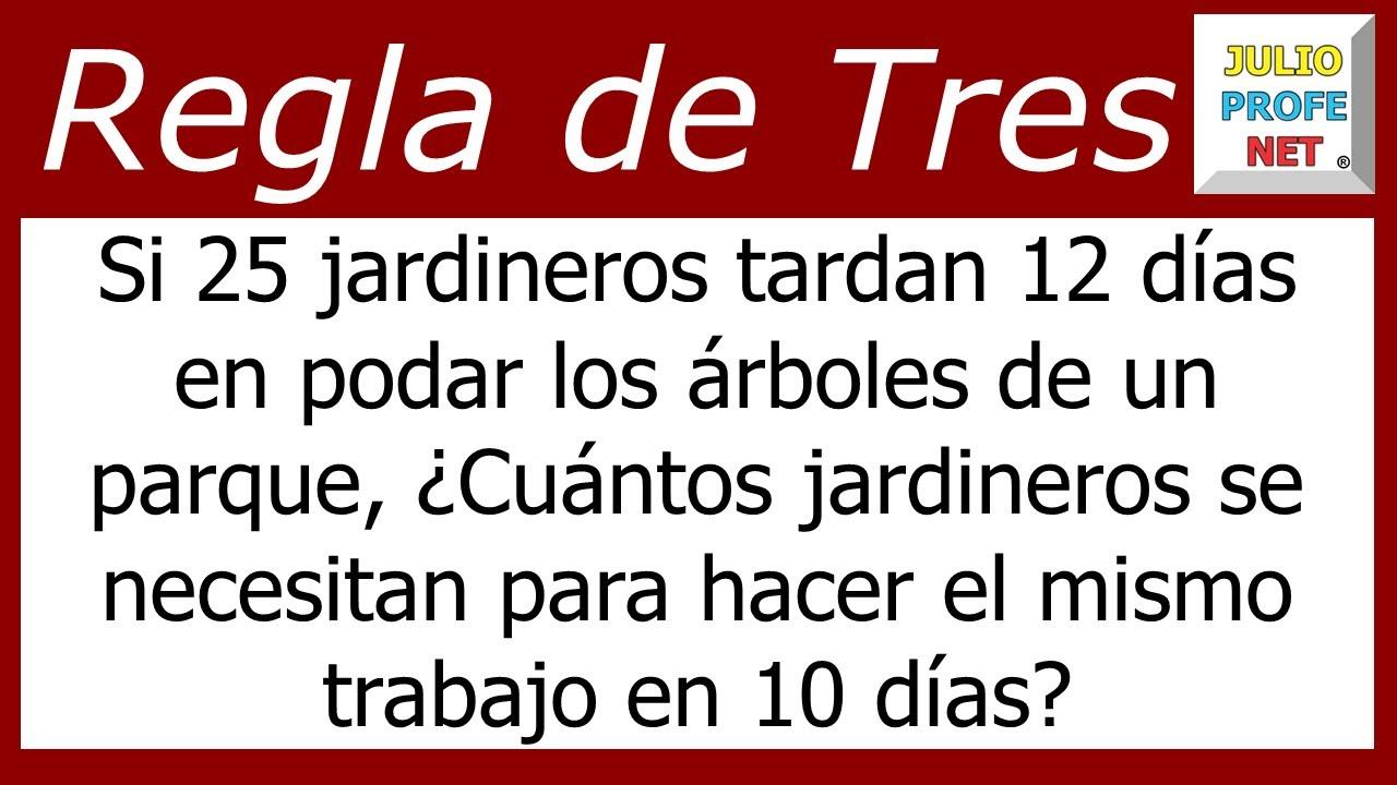 REGLA DE TRES SIMPLE INVERSA - Problema 1 - YouTube