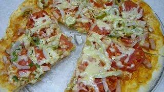 ПИЦЦА ЗА 5 МИНУТ , рецепт. Тесто для пиццы. ПИЦЦА В МИКРОВОЛНОВКЕ. Очень быстро из пресного теста