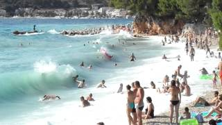 Chorvatsko 2012 , Podgora (vlny na pláži)