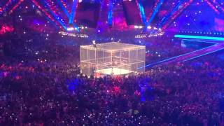 Shane McMahon insane leap from WWE Hell in a Cell at Wrestlemania 32 in Dallas