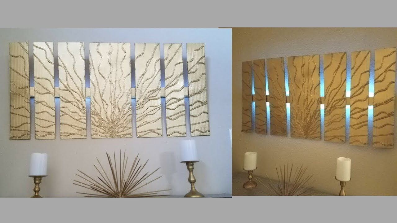 Diy Wall Decor with in built Lighting Using Cardboards Simple and Inexpensive Wall Decorating Idea : diy wall lighting - www.canuckmediamonitor.org