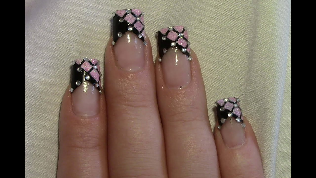 rosa glitter strass party nail art design tutorial. Black Bedroom Furniture Sets. Home Design Ideas