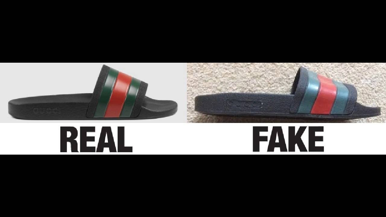 ca9f02e0eb2597 How To Spot Fake Gucci Rubber Slide Sandals Authentic vs Replica Comparison