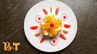 Экзотический новогодний салат с крабовыми палочками и апельсином