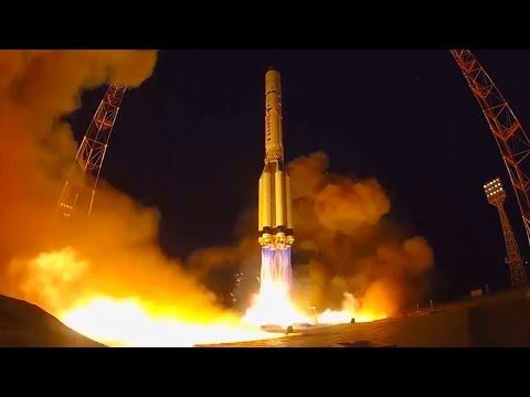 Russian Proton Breeze M - Blagovest No. 11L Communications Satellite Launch Footage