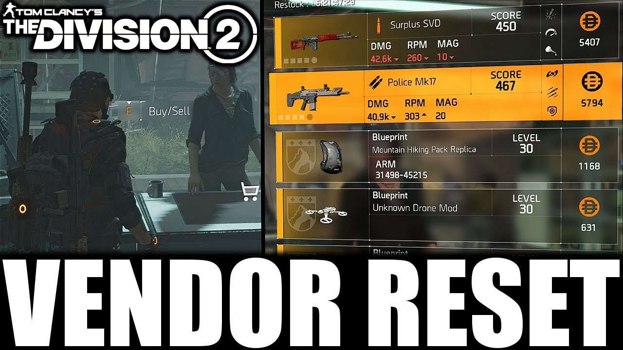 The Division 2 - VENDOR RESET | NICE WEAPONS, GEAR & MODS! (YOU NEED TO BUY)