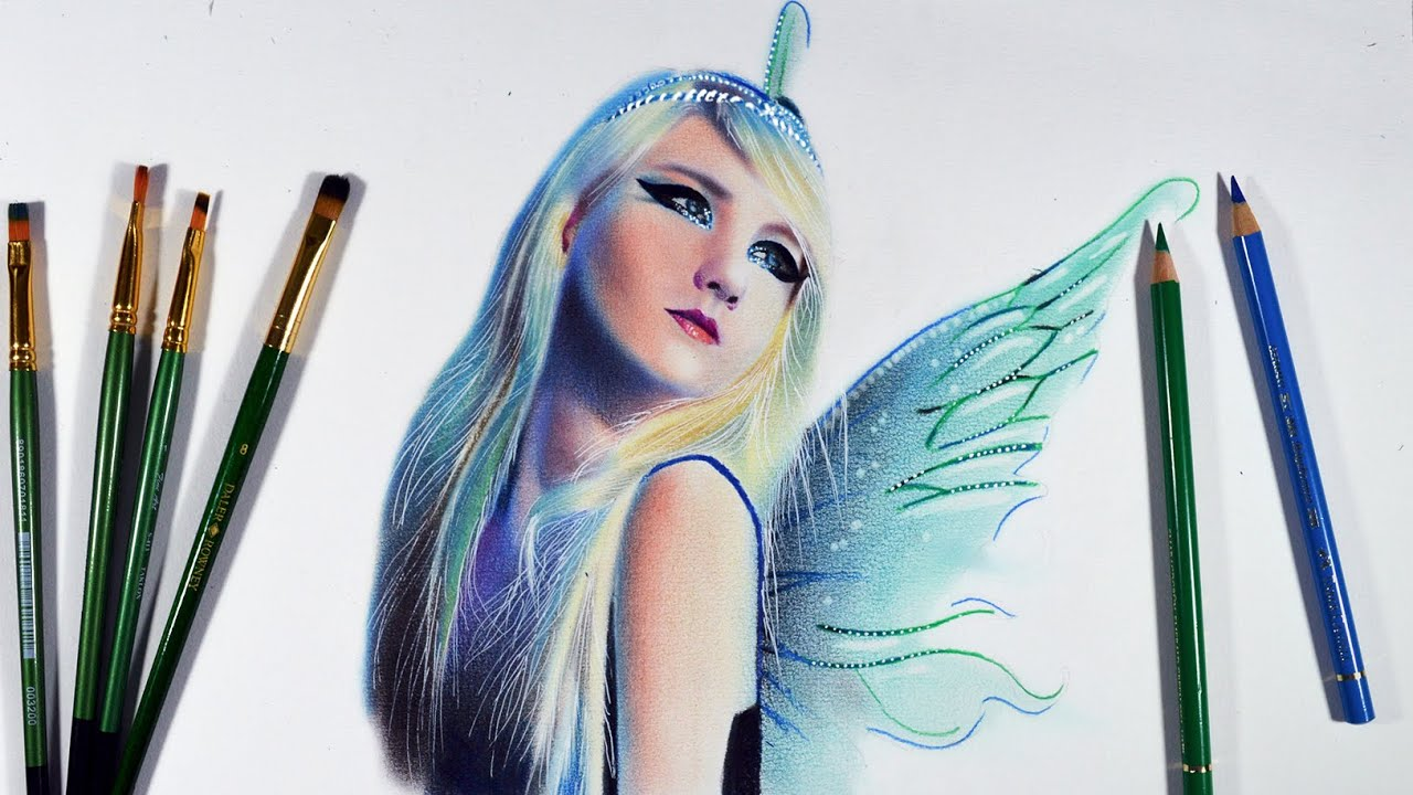 How to draw a Winged Fairy -- Oil colours dry brushing ...