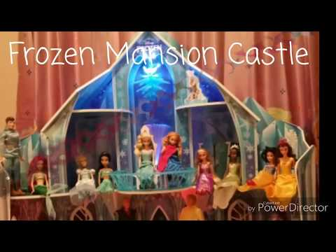 My Barbie dream house and disney frozen mansion snowflake castle tour