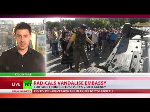 Radicals vandalise Russian embassy in Kiev