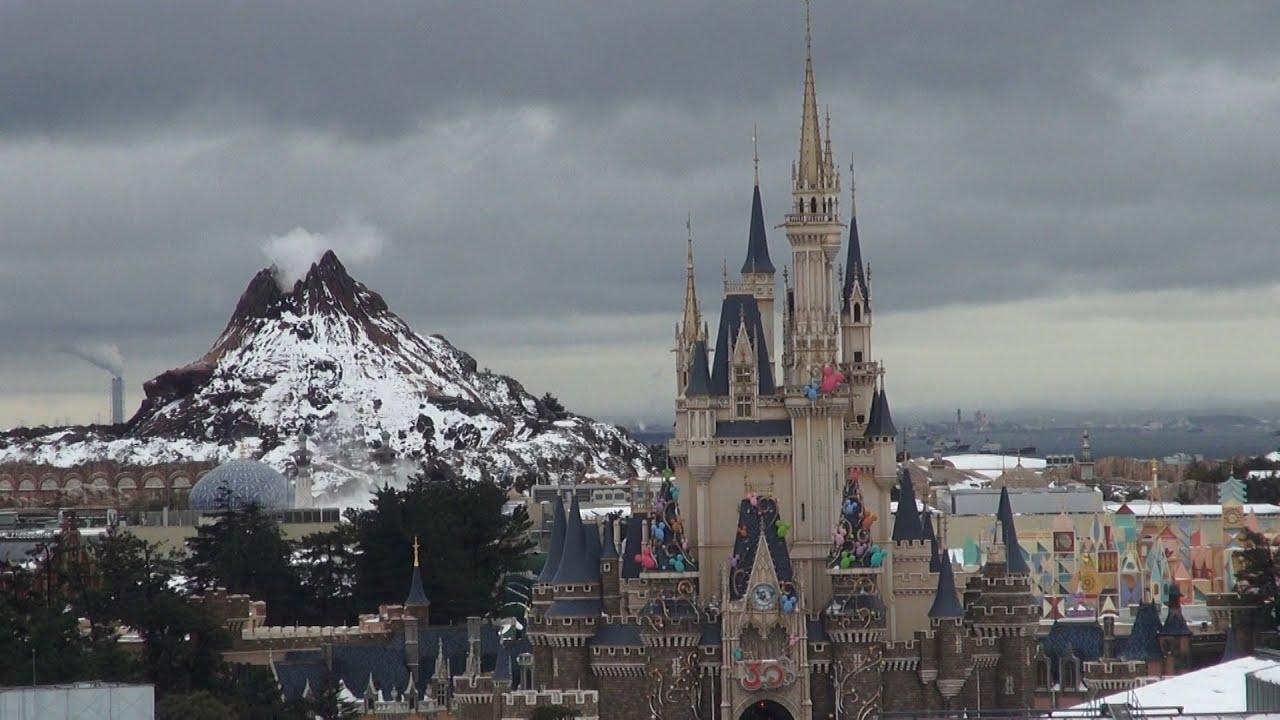 tdl 「ディズニーランドホテルからの雪風景」 - youtube