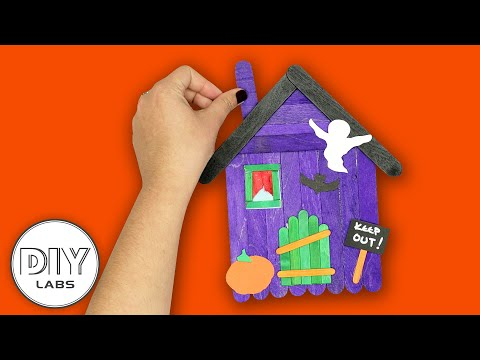 HAUNTED HOUSE | Halloween Popsicle Stick Craft | Fast-n-Easy | DIY Labs