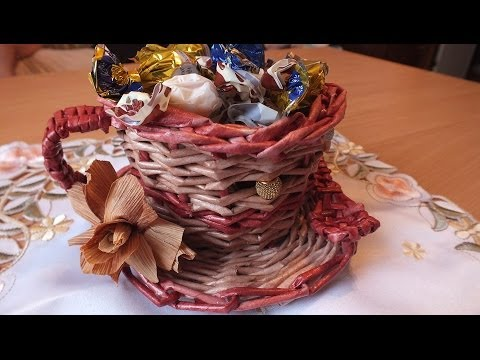 Плетение из газет Чашка How to make Paper Basket  newspapers Tutorial periódicos de tejer