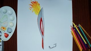 How to draw the Olympic torch