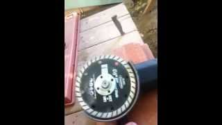 paver cutting using a angle grinder a diamond cutting wheel from harbor freight