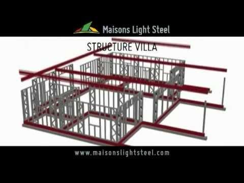 Villa a structure metallique 2 youtube for Maison kit ossature metallique