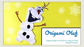 ORIGAMI OLAF! Origami Snowman - Disney FROZEN Paper Crafts Tutorial for Kids-Easy