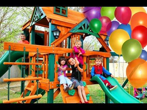 Surprise Kinder Playtime Playhouse Fun Kids Play on Swings Lots of Slides Friend Party Swingset