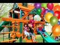 Surprise Kinder Playtime Playhouse Fun Kids Play on Swings Lots of Slides Friend Party Swingset
