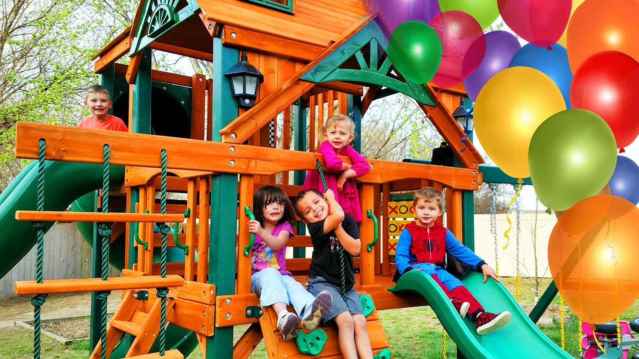 Outdoor Kinder Surprise Kinder Playtime Playhouse Fun Kids Play On Swings Lots Of Slides Friend Party Swingset