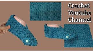 حذاء نسائي بقطعه واحده بأسهل طريقه وغرزة مميزة Crochet Easy Slippers / قناة كروشية يوتيوب