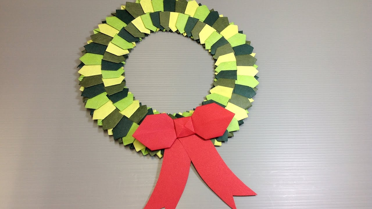 Origami Modular Christmas Wreath - Make Your Own - YouTube