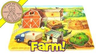 Melissa & Doug Easy Grip Peg Farm Animal Hide 'n Seek Puzzle Pictures Under Pieces #371