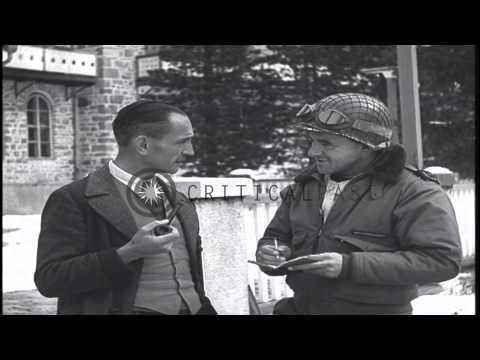 German Pastor Martin Niemoller is interviewed by Army correspondent. HD Stock Footage