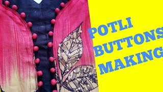 How to make potli buttons/ goli buttons/ designer neckline buttons