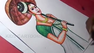 How to Draw Onam Festival Drawing for kids Step By Step for Kids