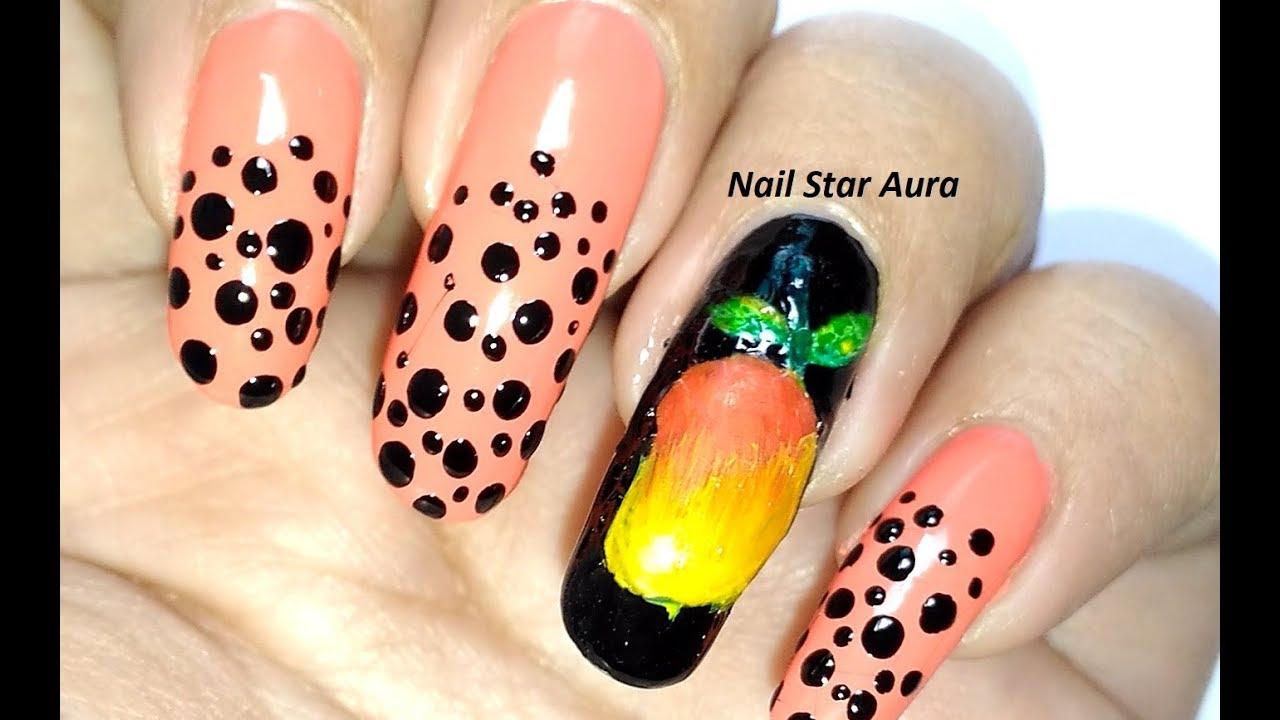 Fruit Nail Art : Mango | Favourite Fruit Nail Art Tutorial | Nail ...