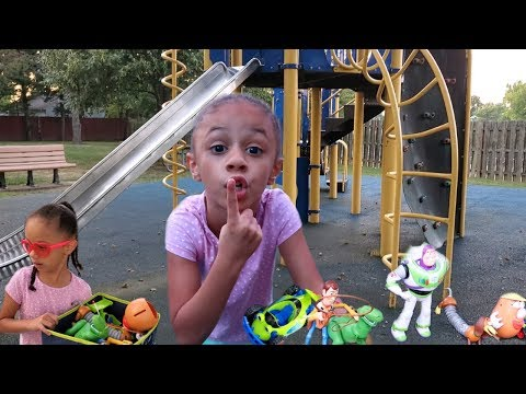 Hide And Seek with Toy Story 4 Toys at The Playground