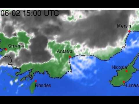 Satellite Image Infrared color  Europe Mediterranean east  Loop 24 hours loop  Mon 01 Jun, 2215 BS2