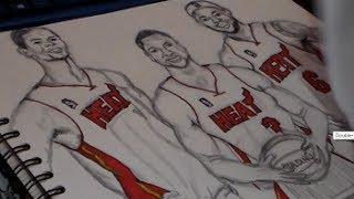 Drawing Lebron James, Dwyane Wade and Chris Bosh