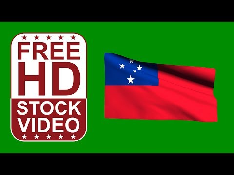 FREE HD video backgrounds – Samoa flag waving on green screen 3D animation