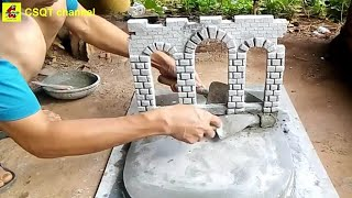 Make your own cement aquarium at home // combine beautiful plants