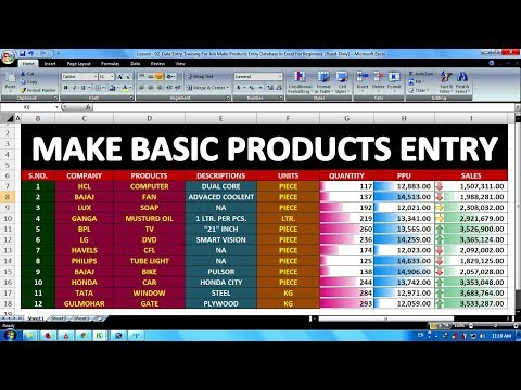 Lesson - 02 || Data Entry Training For Job Make Products Entry Database In Excel For Beginners ||