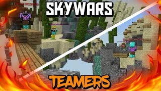 PVP Fight With Four Teamers In Skywars |NetherGames| Minecraft PE (Pocket Edition)