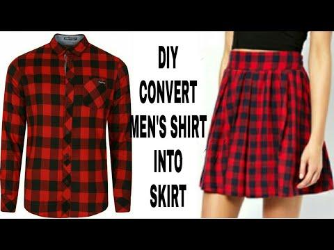 DIY Convert Mens Shirt Into Skirt||