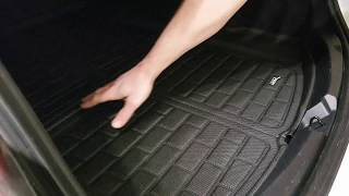Tesla Model 3 accessing storage area with trunk liner in place MAXp...