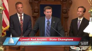 Sen. Hildenbrand recognizes the Lowell Red Arrows State Wrestling Champions