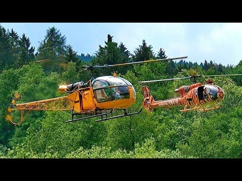 GIGANTIC RC TURBINE MODEL HELICOPTER FLIGHT SHOW SA341 SA318C BERND PÖTING AND FRANCIS PADUWAT