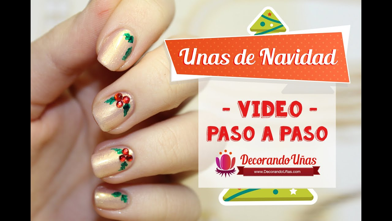 Uñas decoradas para Navidad \u2013 Christmas Nail art DIY \u2013 Video tutorial paso a paso
