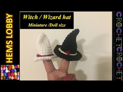 How to crochet Doll size mini Wizard/Witch hat - Halloween project