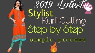 kurti / Suit / kameez cutting, how to make kurti cutting, simple way, Hindi